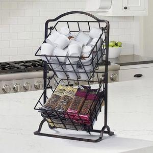 New 2 Tier Hanging Basket, Antique Black